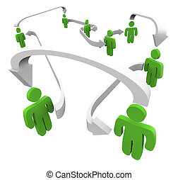 Green Connected People Networking Communication Sharing Spreading Information