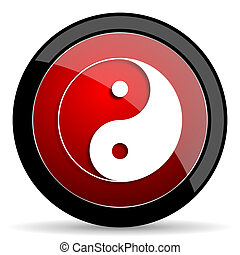 ying yang red circle glossy web icon on white background -...