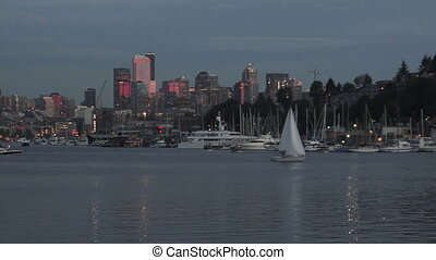 Lake Union Boats Homes Dock Seattle City Skyline Washington...
