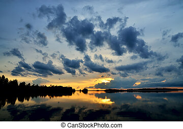 Romantic twilight Pongoma lake, Karelia, Russia - Romantic...