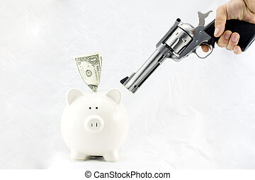 Piggy Bank at Gunpoint - Piggy bank being held up at...