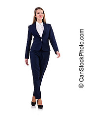 Businesswoman in blue suit isolated on white