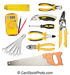 Work tools - Set of work tools isolated on white background...