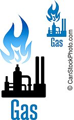 Gas processing factory icon with blue flame - Natural gas...