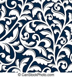 Ornamental white floral seamless pattern with delicate...