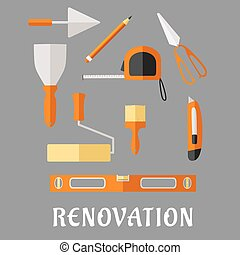 Construction and renovation tools flat icons