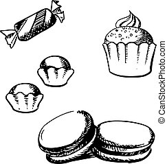 Sketch of cupcake, macaron, truffles and candy - Sweet...
