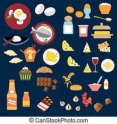 Food, fish, snacks and drinks flat icons - Food and drinks...