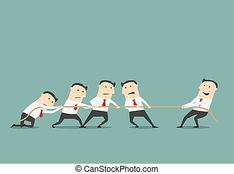 Businessman tug of war with group - Successful and powerful...