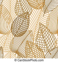 Autumn brown and yellow leaves seamless pattern