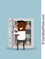 Happy businessman opens safe with money