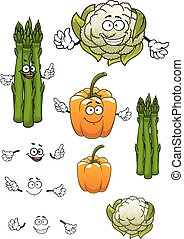 Cartoon asparagus, cauliflower and bell pepper - Cartoon...