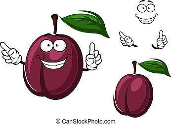 Cartoon plum fruit with purple peel - Juicy purple plum...