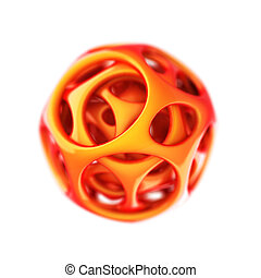 orange plastic spherical designer made in 3D