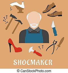 Shoemaker with shoes and tools, flat icons