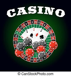 Casino icon with four aces, chips and roulette