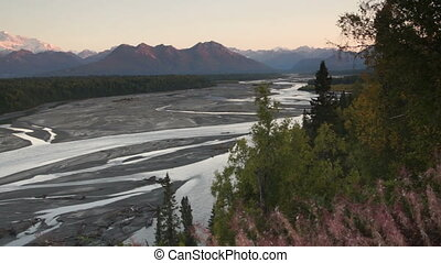 Mountains of the Denali Range Wide Shot Panning Across -...