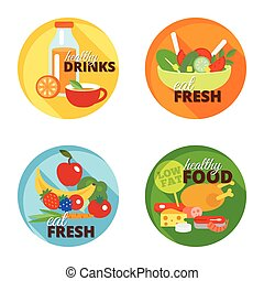 Healthy eating flat icon - Healthy eating flat decorative...
