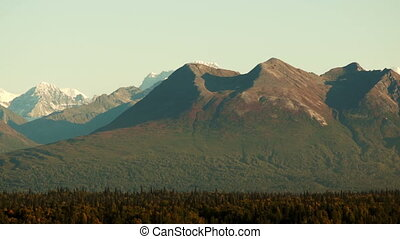 Mountains of the Denali Range Tight Shot Panning Across -...
