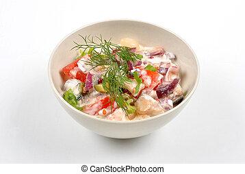 algunos, fresco, orgánico, arenque, ensalada, tomate