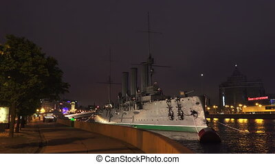 The Aurora cruiser in Saint-Petersburg. Night. 4K