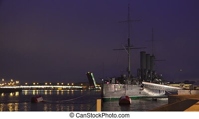 The Aurora cruiser in Saint-Petersburg. Night. 4K - The...