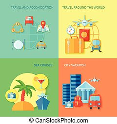Travel Flat Icon Set - Travel design concept set with...