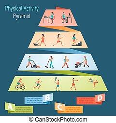 físico, actividad, pirámide, Infographics,