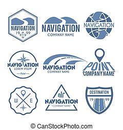 Navigation Label Grey - Navigation label grey set with route...