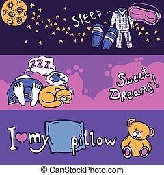 Sleep Time Banner Set - Sleep time horizontal banner set...