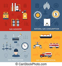 Gas industry flat icons composition - Natural raw gas...