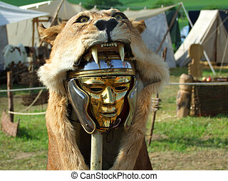 Centurio mask - Mask of a lion. Roman military symbol.