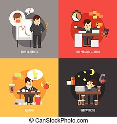 Stress at work flat icons composition - Deadline stress at...
