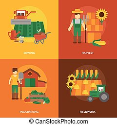 Farmer land flat icons composition - Farmer family business...