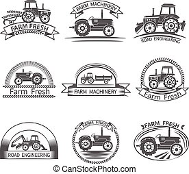 Tractor Driver Label - Tractor driver farm and construction...