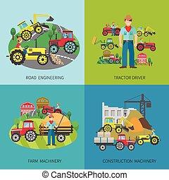 Tractor Driver Flat Set - Tractor driver design concept set...