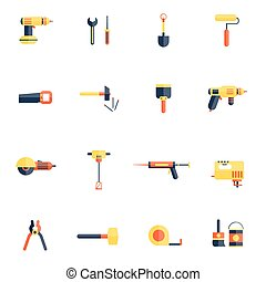 Home Repair Tools Icon Flat - Color tools for repair and...