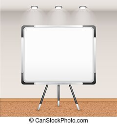 Flip Chart In Interior - Realistic tripod flip chart magnet...
