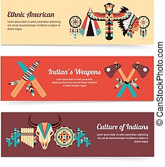 Ethnic design concept banners - American indigenous people...
