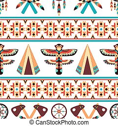 Ethnic border pattern design - Decorative american indian...
