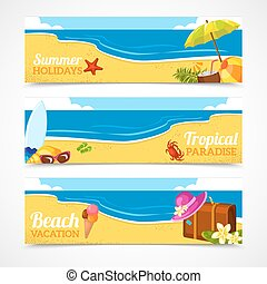 Banner set of summer beach - Banner horizontal set of travel...