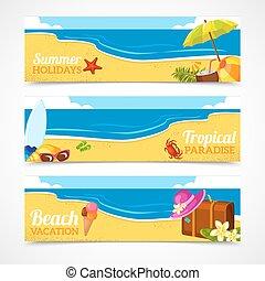 Banner set of summer beach
