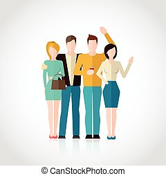 Friends Flat Illustration - Friends concept with four men...