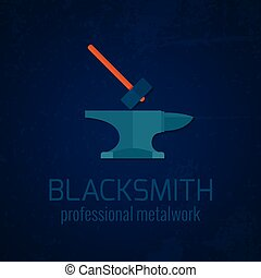 Blacksmith metalwork icon - Blacksmith shop professional...