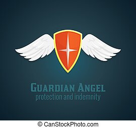 Shield And Wings Icon - Antique medieval shield and wings...