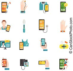 Digital Health Flat Icons - Digital health emergency medical...