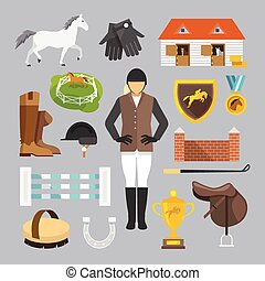 Jockey Icons Flat - Jockey decorative icons flat set with...