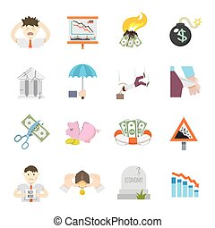 Economic Crisis Flat Icons - Economic crisis finance...