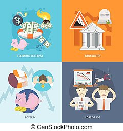 Economic Crisis Flat - Economic crisis design concept set...
