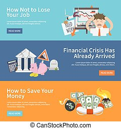 Economic Crisis Banners - Economic crisis horizontal banners...